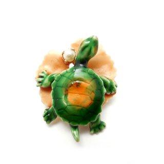 ORIGINAL BY ROBERT (オリジナル・バイ・ロバート)☆蓮の葉と亀のヴィンテージ・ミニブローチ