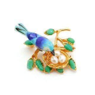 SWOBODA(スワボダ)☆ミントグリーン天然石ハウライトと淡水パールの卵 鳥の巣と青い小鳥のヴィンテージ・ブローチ【デッドストック】