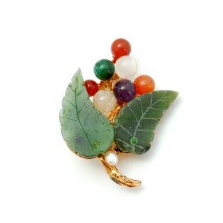 SWOBODA(スワボダ)☆翡翠とマルチカラー天然石 ブドウ/木の実とリーフのヴィンテージ・ブローチ【デッドストック】