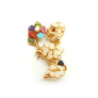 SWOBODA(スワボダ)☆マルチカラーの天然石 お花とフレンチプードルのヴィンテージ・ブローチ