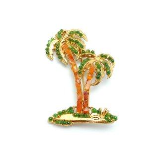 SWOBODA(スワボダ)☆ペリドットとカーネリアン天然石 ヤシの木のヴィンテージ・ブローチ【デッドストック】