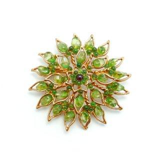 SWOBODA(スワボダ)☆ペリドット天然石 太陽フラワー 万華鏡 お花のヴィンテージ・ブローチ【デッドストック】