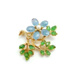 SWOBODA(スワボダ)☆ブルーオパールとペリドット 天然石とパール 枝のお花のヴィンテージ・ブローチ【デッドストック】