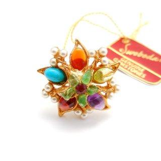 SWOBODA(スワボダ)☆マルチカラーの天然石とパール お花と実の指輪 ヴィンテージ・アジャスタブル・リング【デッドストック・タグ付】