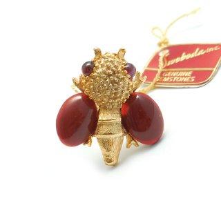 SWOBODA(スワボダ)☆天然石カーネリアンとガーネット ミツバチ 蜂のアジャスタブル・ヴィンテージ・リング【デッドストック・タグ付】