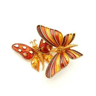 Boucher(ブーシェ)☆秋色 揺れる2羽の蝶々のヴィンテージ・ブローチ