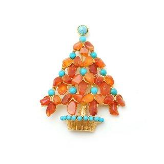 SWOBODA(スワボダ)☆カーネリアンとターコイズ天然石 オレンジ・クリスマスツリーのヴィンテージ・ブローチ【デッドストック】