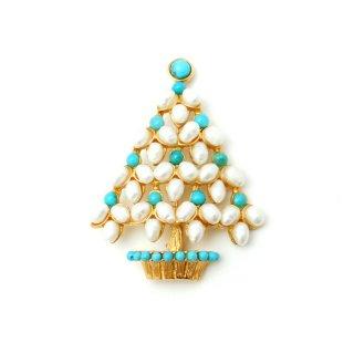 SWOBODA(スワボダ)☆淡水パールとターコイズ天然石 ホワイト・クリスマスツリーのヴィンテージ・ブローチ【デッドストック】