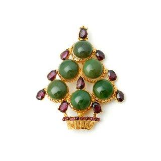 SWOBODA(スワボダ)☆天然石ヒスイとガーネット クリスマスツリーのヴィンテージ・ブローチ【デッドストック】