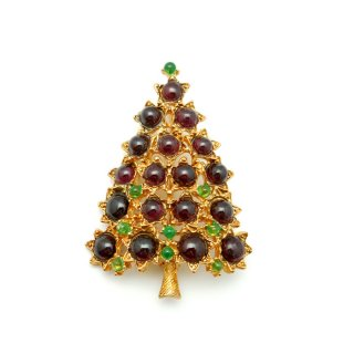 SWOBODA(スワボダ)☆ガーネットとペリドット天然石 星のクリスマスツリーのヴィンテージ・ブローチ【デッドストック】