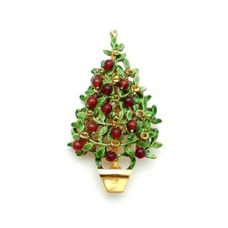 【アウトレット訳あり半額】ORIGINAL BY ROBERT (オリジナル・バイ・ロバート)☆赤いビーズのオーナメント アップル・クリスマスツリーのヴィンテージ・ブローチ