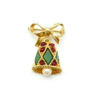 【レア!】SWOBODA(スワボダ)☆天然石ガーネット、翡翠とパール クリスマスの鐘 小さなリボン・ベルのヴィンテージ・ブローチ