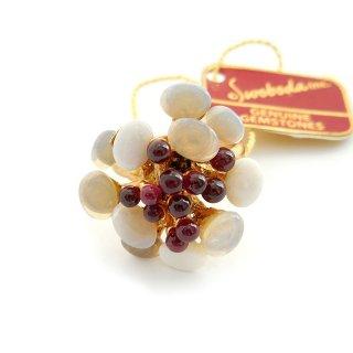 SWOBODA(スワボダ)☆天然石オパールとガーネット バブルのお花と実の指輪 ヴィンテージ・アジャスタブル・リング【デッドストック・タグ付】