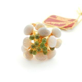 SWOBODA(スワボダ)☆天然石オパールとペリドット バブルのお花と実の指輪 ヴィンテージ・アジャスタブル・リング【デッドストック・タグ付】