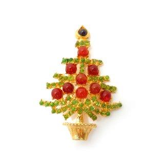 SWOBODA(スワボダ)☆カーネリアン、ペリドット、ガーネット 天然石クリスマスツリーのヴィンテージ・ブローチ【デッドストック】