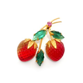 AUSTRIA(オーストリア)☆ダブルのストロベリー フルーツガラス 赤い苺のヴィンテージ・ブローチ