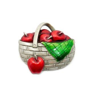 JJ(ジェイジェイ)☆ウッドバスケットに詰まった林檎のヴィンテージ・ブローチ