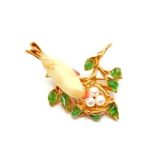 SWOBODA(スワボダ)☆天然石ペリドットと淡水パール 鳥の巣と黄色い小鳥のヴィンテージ・ブローチ【デッドストック】