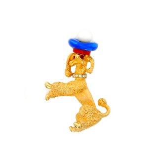 Mandle(マンドル)☆トリコロールのベレー帽をかぶったフレンチプードル犬のヴィンテージ・ブローチ