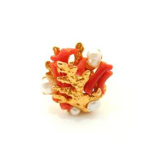 SWOBODA(スワボダ)☆天然の赤い枝珊瑚と淡水パール アジャスタブル・ヴィンテージ・リング 珊瑚礁の指輪【デッドストック】