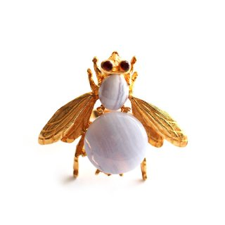 SWOBODA(スワボダ)☆レースアゲートとガーネット天然石 ヴィンテージ アジャスタブル ミツバチ・リング 大きな蜂の指輪【デッドストック】