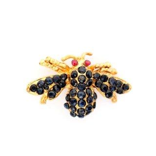 SWOBODA(スワボダ)☆天然石サファイアとルビーの瞳 ミツバチ 蜂のヴィンテージ・ブローチ【デッドストック】