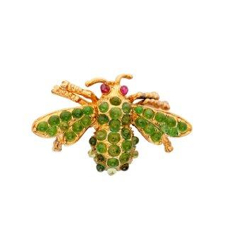 SWOBODA(スワボダ)☆天然石ペリドットとルビーの瞳 ミツバチ 蜂のヴィンテージ・ブローチ【デッドストック】