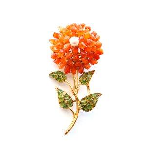 SWOBODA(スワボダ)☆天然石カーネリアンとペリドット 一輪のお花のヴィンテージ・ブローチ【デッドストック】