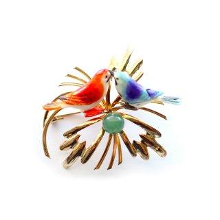 SWOBODA(スワボダ)☆ ラブバード お花の上でキスをする2羽の小鳥と天然石アベンチュリンのヴィンテージ・ブローチ【デッドストック】