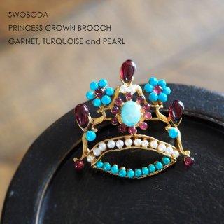 SWOBODA(スワボダ)☆ターコイズ、ガーネット天然石とパール 王冠のヴィンテージ・ブローチ【デッドストック】
