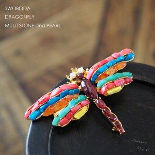 SWOBODA(スワボダ)☆ハウライト、ガーネットとパール カラフルな天然石 トンボのヴィンテージ・ブローチ【デッドストック】