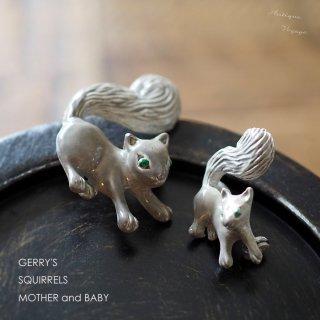 Gerry's(ゲーリーズ)☆ママ&ベイビー リスのヴィンテージブローチ・親子ピン【グレー大小2個セット】