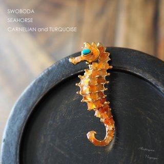 SWOBODA(スワボダ)☆カーネリアンとターコイズ天然石 タツノオトシゴのヴィンテージ・ブローチ【デッドストック】