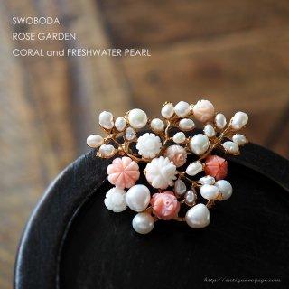SWOBODA(スワボダ)☆淡水パールと珊瑚 エンジェルスキンコーラル 薔薇の茂みのヴィンテージ・ブローチ【デッドストック】