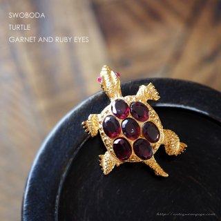 SWOBODA(スワボダ)☆天然石ガーネットとルビーの瞳  亀のヴィンテージ・ブローチ【デッドストック】