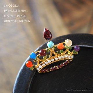 SWOBODA(スワボダ)☆ガーネット、パール、マルチカラー天然石 ティアラ王冠のヴィンテージ・ブローチ【デッドストック】