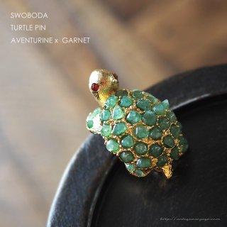 SWOBODA(スワボダ)☆天然石アベンチュリンとガーネットの瞳 リクガメ 亀のヴィンテージ・ブローチ