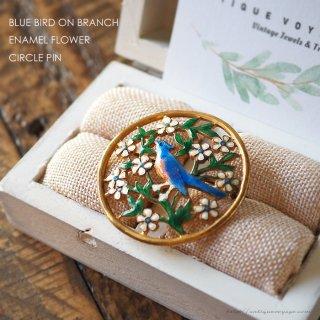 幸せの青い鳥 エナメルフィリグリー・サークルピン 小鳥とお花のアンティーク・ブローチ
