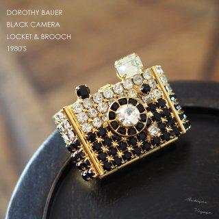 【レア】DOROTHY BAUER(ドロシー・バウアー)☆ラインストーン 黒いカメラのヴィンテージ・ブローチ