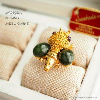 SWOBODA(スワボダ)☆天然石ヒスイとガーネット ミツバチ 蜂のアジャスタブル・ヴィンテージ・リング【デッドストック・タグ付】