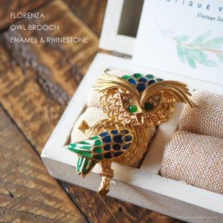 FLORENZA(フロレンザ)☆エナメル ラインストーン 枝の上のフクロウのヴィンテージ・ブローチ
