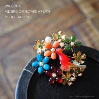 SWOBODA(スワボダ)☆マルチカラーの天然石とパール お花畑リースと赤い小鳥のヴィンテージ・ブローチ【デッドストック】
