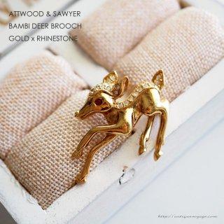 A&S(Attwood & Sawyer)☆イギリス ラインストーン x ゴールド 小さな子鹿 バンビのヴィンテージ・ブローチ