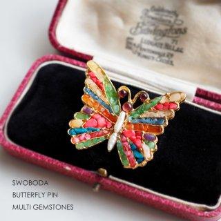 SWOBODA(スワボダ)☆マルチカラーの天然石と淡水パール バタフライ 蝶のヴィンテージ・ブローチ【デッドストック】