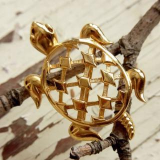 TRIFARI(トリファリ)☆ゴールドトーンの亀/タートルのブローチ