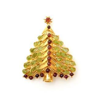 《送料無料》SWOBODA(スワボダ)☆ペリドットとガーネット 天然石クリスマスツリーのブローチ
