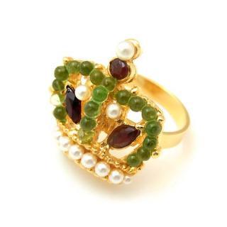 SWOBODA(スワボダ)☆天然石と真珠の王冠のリング