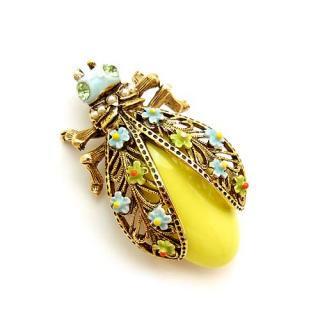 ART(アート)☆お洒落に着飾った黄色い昆虫のブローチ