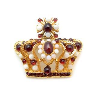 《送料無料》SWOBODA(スワボダ)☆オパールとガーネット天然石のシックな王冠のブローチ