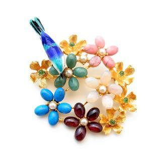 《送料無料》SWOBODA(スワボダ)☆マルチカラー天然石のお花畑と青い小鳥のブローチ